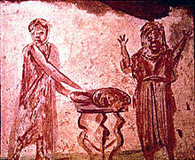 Ancient Eucharistic loaf depicted in catacombs