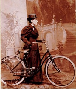"A ""new woman"" in her hat and bike in September 1895. Looks ""manly!?"""