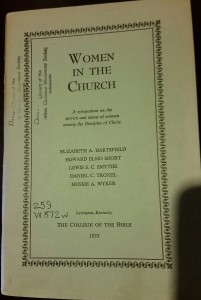College of the Bible study of women in 1953. Makes no mention of Babcock.