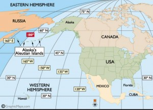 Alaska is both East & West of the 180th/Prime Meridian