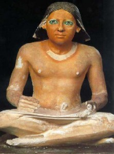 Scribe from Egypt. Note his lap is the writing surface.