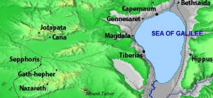 Jesus's village in relation to Sepphoris, Cana and the Sea of Galilee