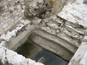 Remains of a Jewish mikvah. They could be small to very large.