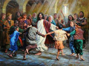 What a wonderful image ... Jesus dancing